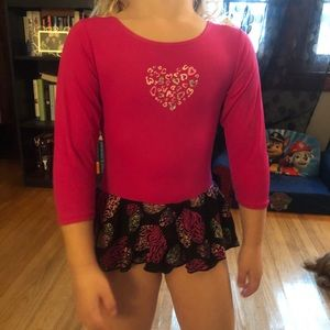 3/4 sleeve dark pink tutu leotard